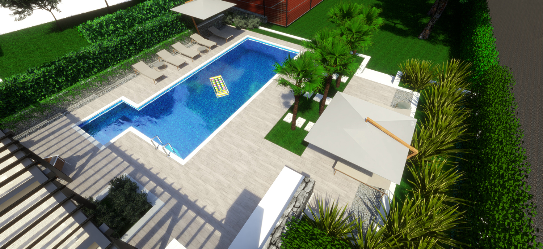 pool, landscapearchitecture, tennis court, krajobrazna arhitektura, dizajn eksterijera, Željko Radišić, Željko Radišić, ovlasteni krajobrazni arhitekt